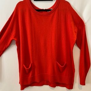 Halogen oversized hi-lo red sweater with  pockets
